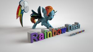 My Little Pony FIM 3D Rainbow Dash Wallpaper by jayjaybirdsnest