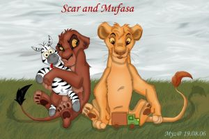 Scar and Mufasa by Myza-Lioness