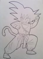 Son Goku -Kid-  Drawing-Lineart by Krizeii