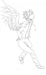 Angel Lineart by the-merriest