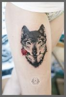 wolf with rose by Karviniya