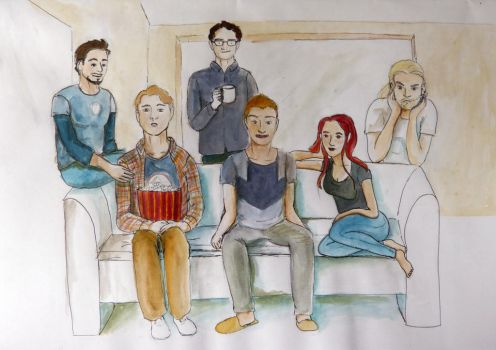 Avengers watching TV by Raagane
