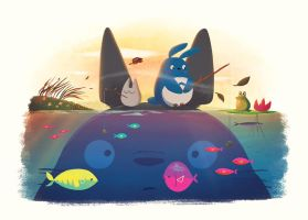 Totoro-fishing by TheBeastIsBack