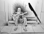 Old Guitar Player by BenHeine