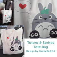 Totoro and Soot Sprites Bag by tanibelle
