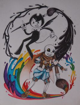 The Inker and The Painter~BATIM x UT AU by DragneeEmberDragon