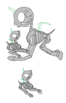Skeletal foal and mother/father base by Yoshi123pegasister