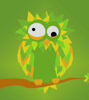 Crazy Green Owl by stupid-owl