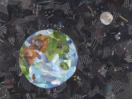 Earth and Moon Collage by merwolves