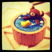 Rilakkuma in a Bathtub Charm by Crazy4Polymer