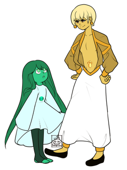Steven Univers OCS: Gold and Emerald by Flamingo-sama