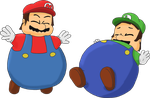 TRADE - Mario and Luigi inflated by JuacoProductionsArts