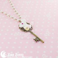 Follow the white rabbit Key Necklace 2 by CuteMoonbunny
