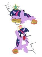 Twilight and Twivine Eating Hayburgers by kaylathehedgehog