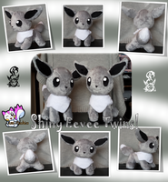 Two Minky Shiny Eevees :Sold: by Ami-Plushies