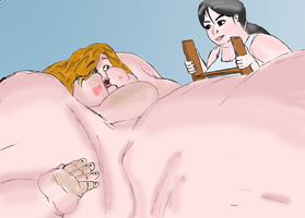 Unsatiable Girl 3 (colorized) by moossbbw