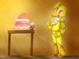 Chica's cake by vanessachibiamore