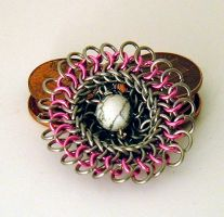 Pink Kuchi Broochy by chainmaille