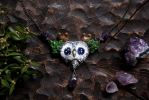 Starry Eyed Horned Owl Necklace by Lavenderwitch