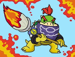 Bowser jr with paintbrush by Mykthecartoonist