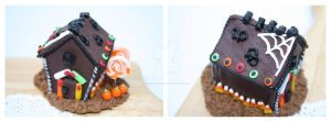Halloween Chocolate gingerbread house by OrangeJuiceCreations