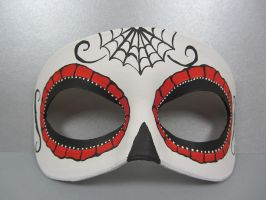 Day of the Dead red spider web mask by maskedzone