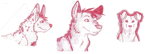 Three Red Dogs by Silversnow-wolf