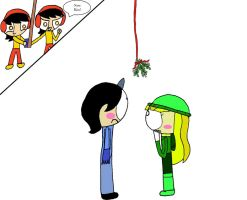 Edward and Emily under the mistletoe by burntuakrisp