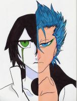 grimmjow and ulquiorra by Roxashearts