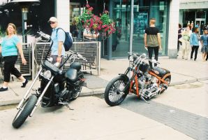 Two Choppers Near Yonge And Dundas Square II by Neville6000