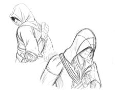 Ezio and Altair:Sketch by Shutterbuggie