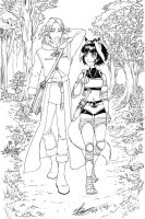 Silas and Rua in the forest WIP by sonialeong