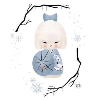 Winter kokeshi doll by tiachristine