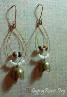 Brass and Seed Pearl Earrings by che4u