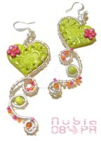 Wired Clay hearts - earrings by colourful-blossom