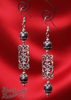 Victorian Black Pearl Filigree Earrings by ArtOfAdornment