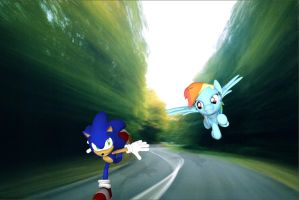 Sonic Vs Rainbow Dash by Rachidna
