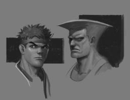 Ryu and Guile by geeshin