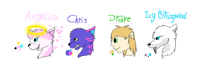 Angelica, Chris, Drake, and Icy Bitingwind refs by Helkie-three