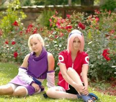 Ino and Sakura - Flowers by OnigiriSakura