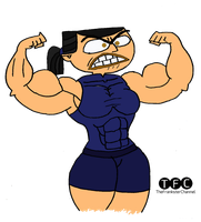 Muscle Eva flexing biceps by TheFranksterChannel