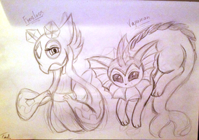 Frosslass and Vaporeon sketch by mirry92
