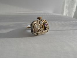 Steampunk mechanical ring with small zircons by SteamJo