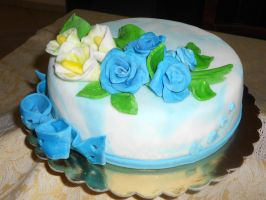 blue rose cake by rosecake