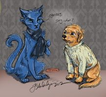 BBC Sherlock-Sherlock Cat and John Dog by WolfWhiskers