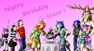 Happy Birthday Pink-Tails by Fruit-Sauvage
