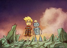 A kid and his robot friend II by JaelynGS
