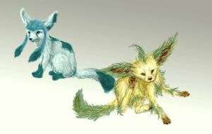 Leafeon and Glaceon by RtRadke