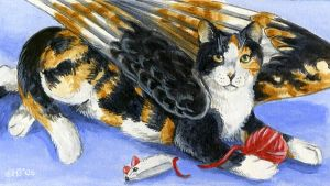 winged cat magnet by Hbruton