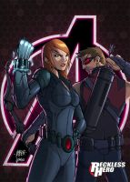 Avengers - Black Widow and Hawkeye by RecklessHero